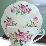 Beautiful Shelley England Dainty Teacup & Saucer Bridesmaid Pattern Blue Trim