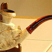 Vintage Carved Meerschaum Bear & Tree Stump Pipe