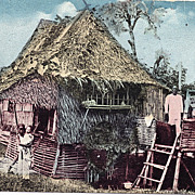Nipa House Hut With Natives Postcard Philippines
