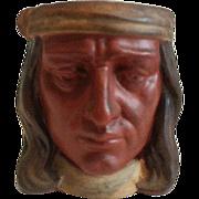 Signed Joseph Green Ottawa Illinois Figural Native American Glazed Earthenware Hand less Mug 1