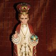 Vintage Infant of Prague Chalk Ware Statue