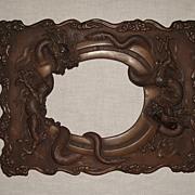Vintage; Bronze Metal Picture Frame; Dragons; Japan