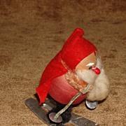 Vintage Santa on Skis Spun Cotton And Chenille Christmas Decoration