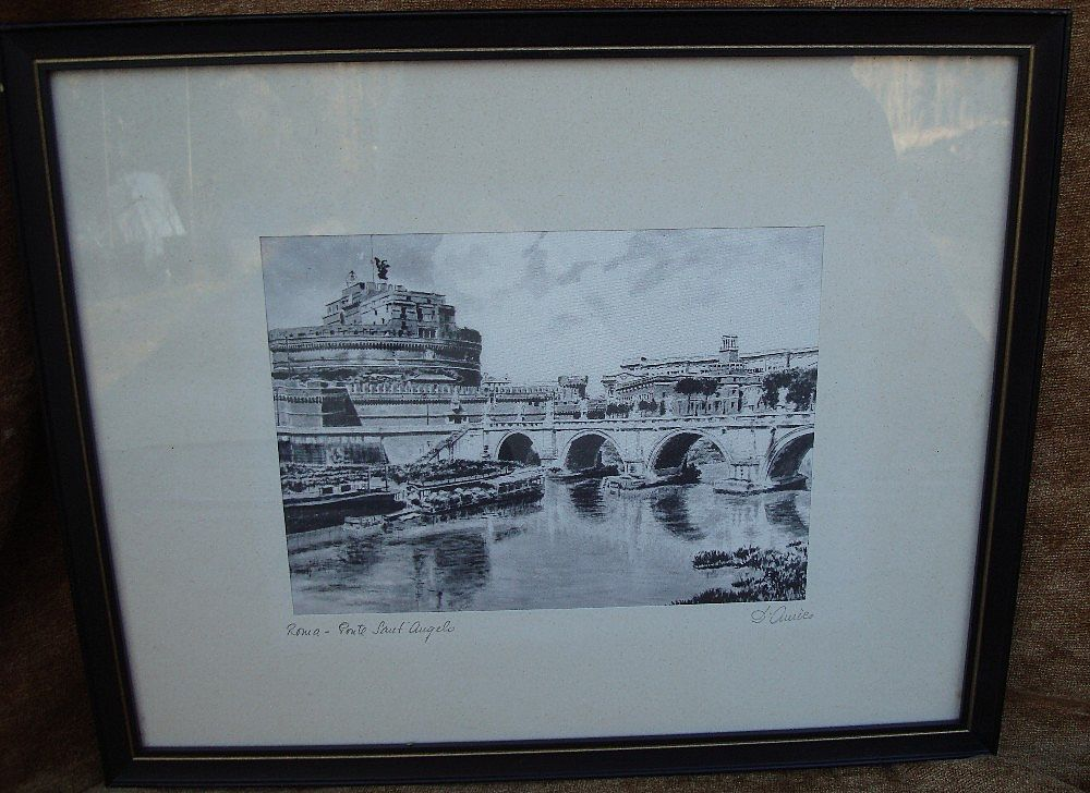 Vintage Black & White Italian Silk Screen Print - Artist Signed