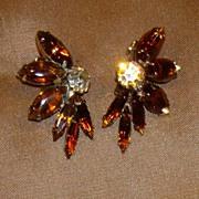 Smoky Topaz Rhinestone Earrings