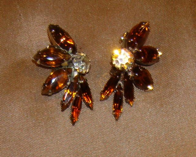 Smoky Topaz Rhinestone Earrings