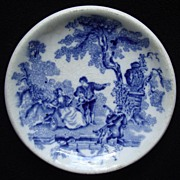 English Masons Ironstone Flow Blue Butter Pat -Transferware