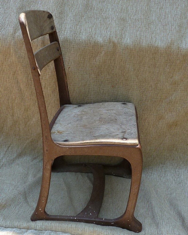 vintage wood metal childs school chair from pitkin on ruby lane