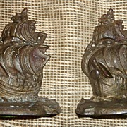 Cast Iron Sailing Ship Book Ends - Mini