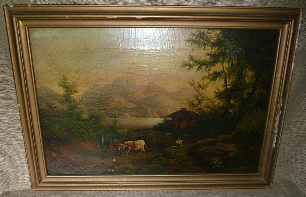 19th Century English School Oil On Canvas Painting - Rural Scene With Cows