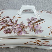 "Lewis Strauss & Sons - Limoge ""Thistle"" Pattern - Covered Vegetable  Bowl"