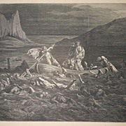 "SALE PENDING 19th C.  French Engraving/Print From "" The Vision of Hell "" By Dante"