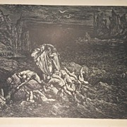 """Antique 19th C.  French Engraving/Print From """" The Vision of Hell """" By Dante"""