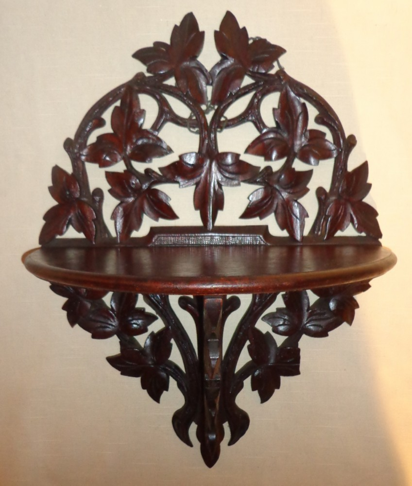 Black Forest Hand Carved Mahogany Fold Out  Shelf  Circa 1890
