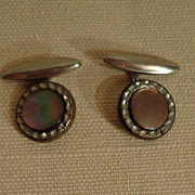 Silver Toned Metal Mother Of Pearl French Cuff Links