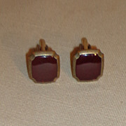Faux Ruby Red Stone Cuff links