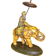 Cold Painted Bronze Elephant With Monkey Rider holding Parasol