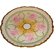 Elite Limoge - Hand Painted - Art Nouveau - Rose Pattern Plate - Signed