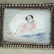Oriental Scrimshaw On Mother of Pearl Pin / Brooch