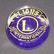 Vintage Lions International Art Glass Paper Weight Signed