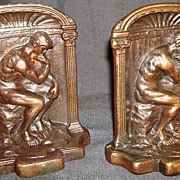 "Solid Bronze ""The Thinker"" Bookends"