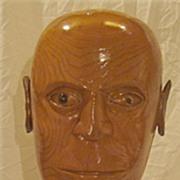 Vintage Hand Carved Wooden Male Bust