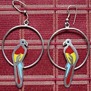 Vintage Mexico Sterling Hoop Ear Rings With Parrots