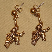 Fun Pair of Witch on Broomstick Earrings