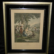 English Hand Colored Engraving
