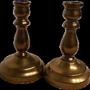 Pair of miniature brass candlesticks