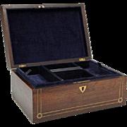 English Victorian Rosewood Jewelry Box