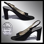 Vintage 1970s Christian Dior Shoes Black Peau de Soie Slingback Size 7 1/2