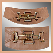 Vintage 1980s Wide Brown Leather Belt Ladies Size 29 inches to 32 1/2 inches