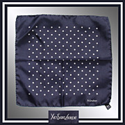 SALE PENDING Vintage Yves St Laurent Mens Pocket Scarf White Squares and Navy Blue Handkerchie