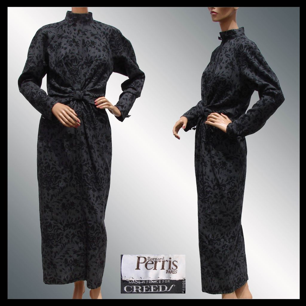 Vintage 1980s Bernard Perris Dress Paris Haute Couture Designer For Creeds Las Size M 10