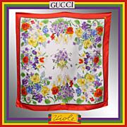 Vintage 70s Gucci Silk Scarf Violets Vittorio Accornero 34.5 inches