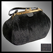 Vintage 50s Ingber Faux Fur Purse // 1950s Handbag O'llegro Orlon & Dynel Fabric