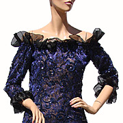 Vintage 80s Yves Saint Laurent Dress // St Laurent Rive Gauche Paris Blue Sequin Lace Ladies Size M