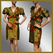 Vintage 80s Thai Silk Dress // 1980s Butterfly Pattern Ladies Size S Small