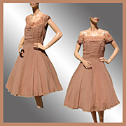 Vintage 1950s Brown Chiffon Party Dress - M