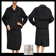 Vintage 1950s Black Wool Jacket & Skirt Suit Size Large.