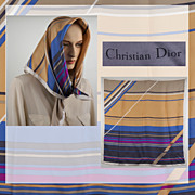 Vintage 1970s Christian Dior Silk Scarf - Stripes - 30 inches