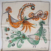 Vintage 50s Jean Patou Silk Scarf // 1950s Designer Birds of Paradise Illustrations