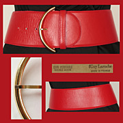 Vintage 80s Guy Laroche Red Leather Belt // 1980s Ladies Size S / M 28