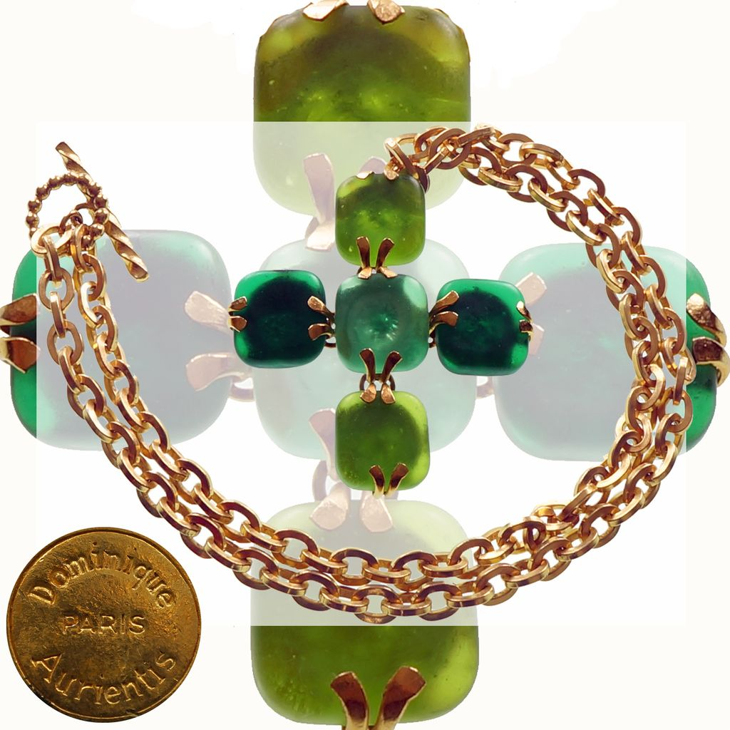 Vintage 80s Dominique Aurientis Pendant Necklace // 1980s Cross Green Poured Glass with Gold Toned Chain