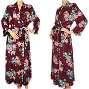 Vintage 1940s Floral Chintz Dressing Gown - Maroon Faille Lounging Robe Ladies Size M / L