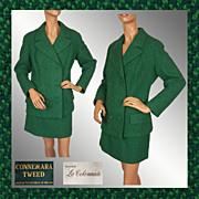 Vintage 1960s Green Connemara Tweed Ladies Suit Large
