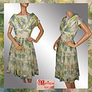 Vintage 1950s Organza Dress - Floral Pattern - M