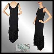 60s Black Crepe Sheath Dress - Ruffled Bottom - Full Length - M