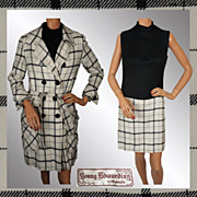 Vintage 60s Coat & Dress Young Edwardian by Arpeja // 1960 Tattersall Checked Wool Ladies Size M